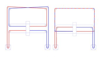 Two different CoreXY belt systems